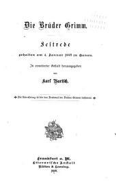 Die Brüder Grimm: Festrede, gehalten am 4. Januar 1885 in Hanau ...