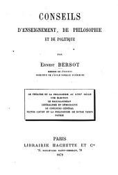 Conseils d'enseignement, de philosophie et de politique