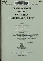 Transactions of the Unitarian Historical Society PDF