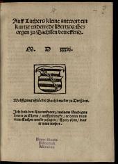 Auff Luthers kleine antwort ein kurtze widerrede, Hertzog Georgen zu Sachssen betreffend