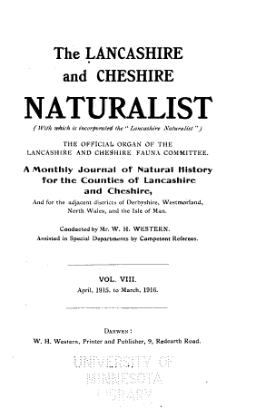 Lancashire and Cheshire Naturalist PDF