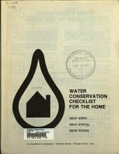 Water Conservation Checklist for the Home: Save Water, Save Energy, Save Money
