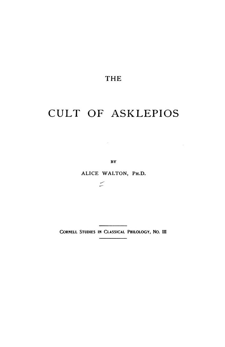 The Cult of Asklepios