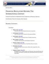 Financial Regulatory Reform: The International Context: Congressional Testimony
