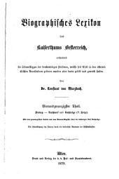 Biographisches lexikon des kaiserthums Oesterreich: enthaltend die lebensskizzen der denkwürdigen personen, welche seit 1750 in den österreichischen kronländern geboren wurden oder darin gelebt und gewirkt haben, Band 24