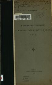 I papiri greci d'Egitto e la storia del diritto romano: Nota