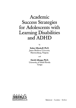 Academic Success Strategies for Adolescents with Learning Disabilities and ADHD PDF
