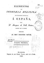 Elementos de economía política con aplicación particular a España: Parte 1