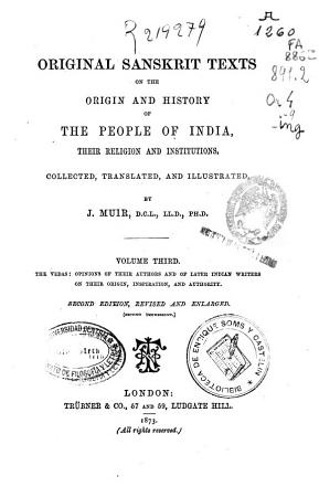 Original Sanskrit Texts on the Origin and History of the People of India PDF