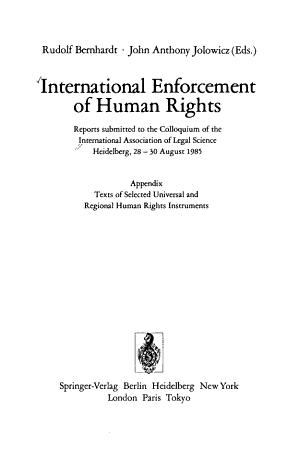 International Enforcement of Human Rights PDF