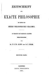 Zeitschrift für exacte philosophie im sinne des neveren philosophischen realismus...: Band 9