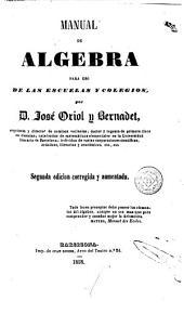 Manual de algebra: para uso de las escuelas y colegios