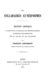Les syllabaires cunéiformes