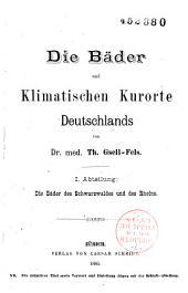 Die Bäder und Klimastischen Kurorte Deutschlands: Band 1