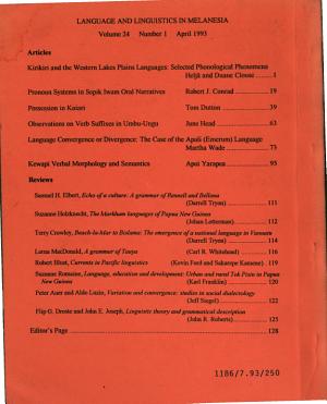 Language and Linguistics in Melanesia