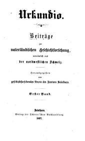 Urkundio Beitrage Vatersandischen Geschichtorschung