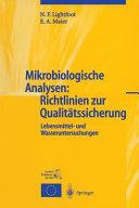 Mikrobiologische Analysen  Richtlinien zur Qualit  tssicherung PDF