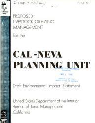 Proposed Domestic Livestock Grazing Program For The Cal Neva Planning Unit Book PDF