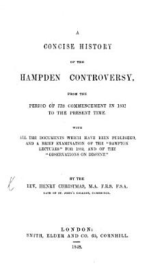 A Concise History of the Hampden Controversy PDF
