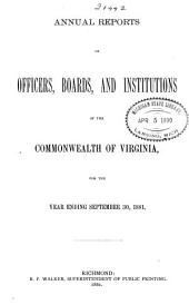 Annual Reports of Officers, Boards and Institutions of the Commonwealth of Virginia