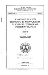 Workers in Subjects Pertaining to Agriculture in Land-grant Colleges and Experiment Stations, 1938-39