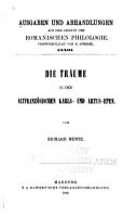 Die Tr  ume in den altfranz  sischen Karls  und Artus Epen PDF