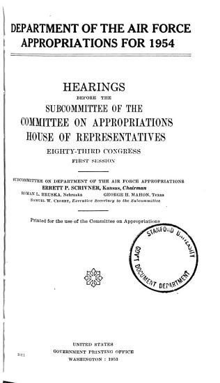 Department of the Air Force Appropriations for 1954 PDF