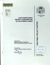 Low power Mode Energy Consumption in California Homes PDF