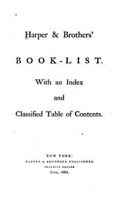 Harper & Brothers' Book-list: With an Index and Classified Table of Contents
