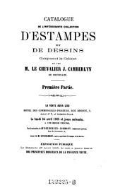 Catalogue de l'interessante collection d' estampes et de dessins, composant le cabinet de seu M. le chevalier J. Camberlyn