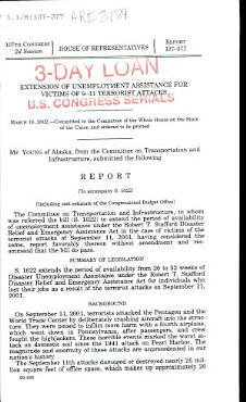 Extension of Unemployment Assistance for Victims of 9 11 Terrorist Attacks PDF