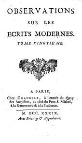 Observations sur les ecrits modernes: Volume20