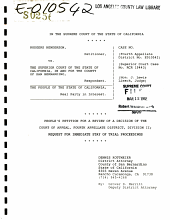 California. Supreme Court. Records and Briefs: S025600, Petition for Review