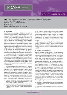 On Two Approaches to Communication of Evidence to the Pre Trial Chamber PDF