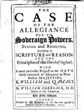 The Case of the Allegiance Due to Soveraign Powers  Stated and Resolved     The Fifth Edition PDF