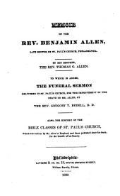 Memoir of the Rev. Benjamin Allen, Late Rector of St. Paul's Church, Philadelphia
