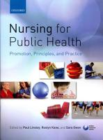 Nursing for Public Health  Promotion  Principles and Practice PDF