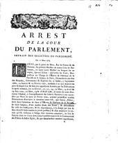 Arrest de la cour de Parlement, extrait des registres du Parlement. Du 12 Mars 1763 ...