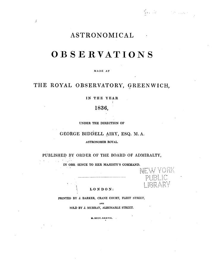 Astronomical Observations. By J. Pond, Published by the President and Council of the Royal Society. 1811-35