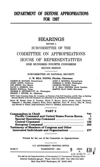 Department of Defense Appropriations for 1997  Secretary of Defense and chairman  Joint Chief of Staff PDF
