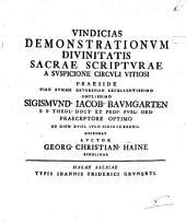 Vindicias demonstrationum divinitatis sacrae scripturae a suspicione circuli vitiosi