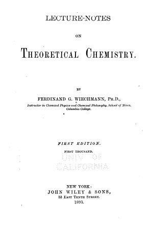 Lecture notes on Theoretical Chemistry
