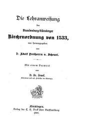 Die Lehranweisung der Brandenburg-Nürnberger Kirchenordnung von 1533