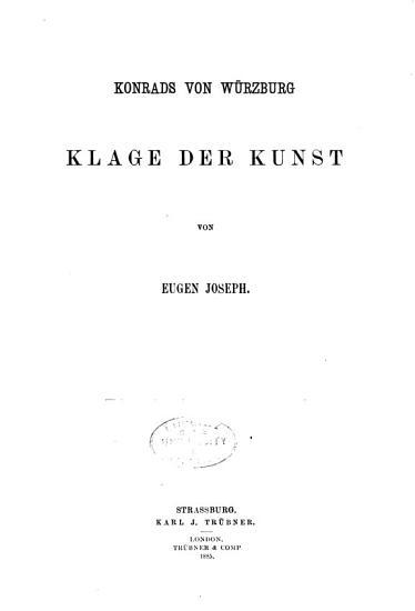 Konrads von W  rzburg Klage der Kunst PDF