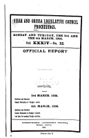 Bihar and Orissa Legislative Council Proceedings PDF