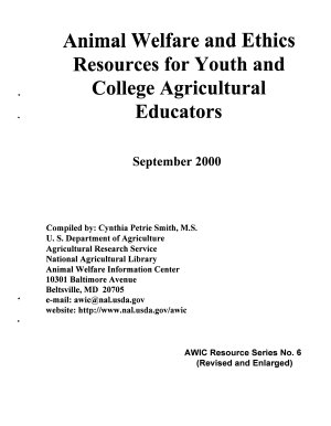 Animal Welfare and Ethics Resources for Youth and College Agricultural Educators PDF