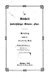 Zu Göthe's hundertjähriger Geburts-Feyer: Prolog