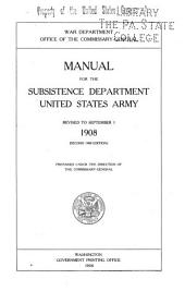 Manual for the Subsistence Department, United States Army
