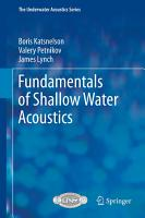 Fundamentals of Shallow Water Acoustics PDF