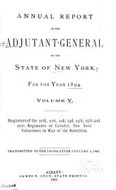 Annual Report of the Adjutant-General of the State of New York for the Year ...: The 20th-26th regiements of cavalry, New York volunteers. 1895: Issue 5
